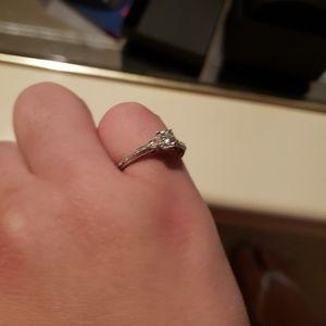 Diamond wedding ring and band